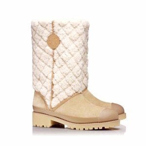 Tory Burch Everett Suede Shearling Winter Boots